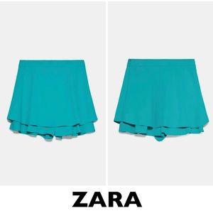 ZARA Emerald High Waisted Ruffled Skort XS
